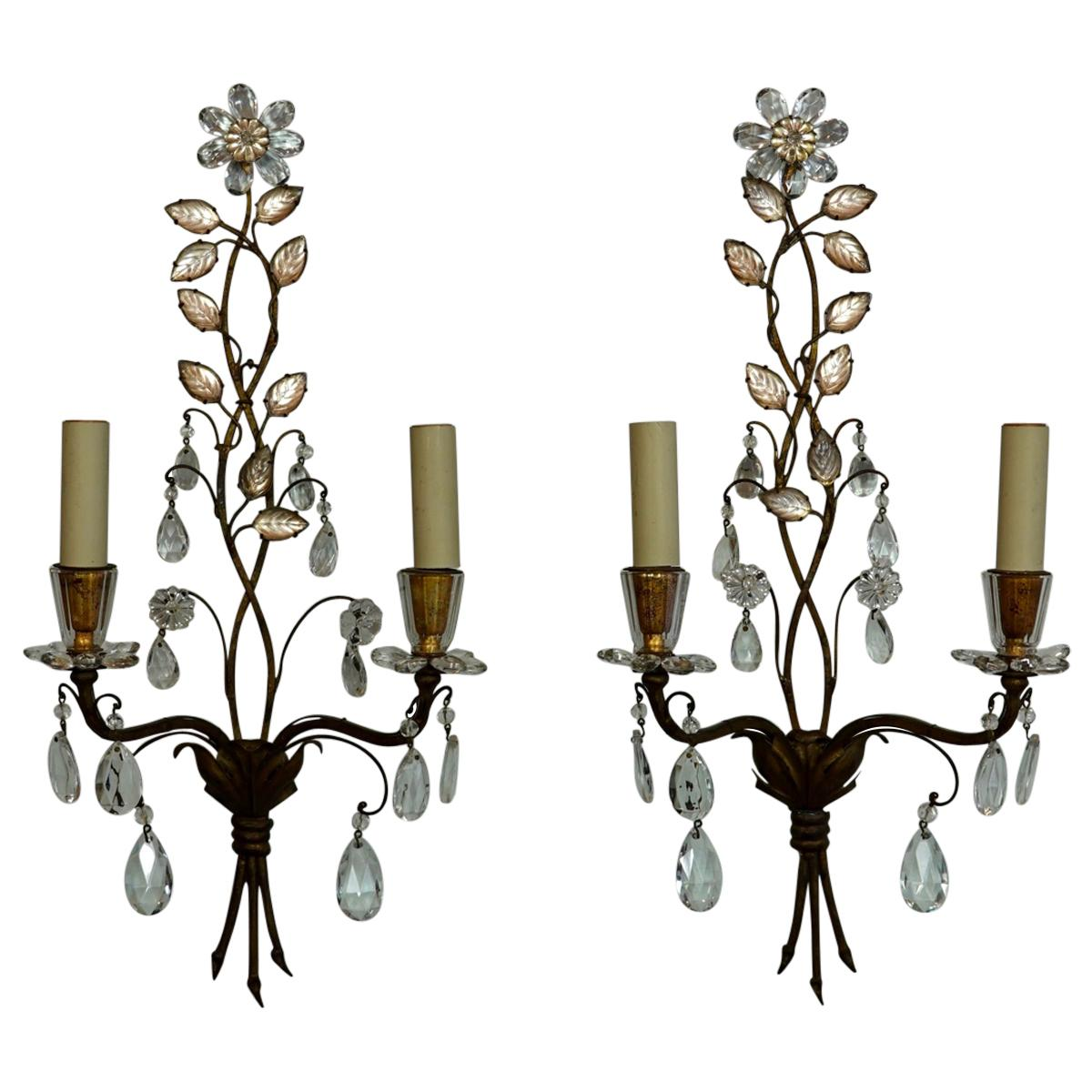 Pair of French Gilt-Metal and Crystal Leaf Sconces by Maison Baguès