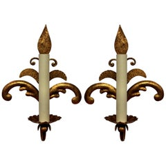 Pair of French Gilt Metal Sconces