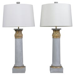 Pair of French Gilt Painted Table Lamp