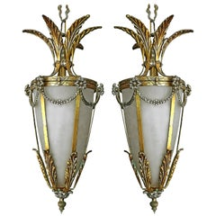 Pair of French Gilt Palm Tree Hollywood Recency Frosted Glass Lantern Chandelier