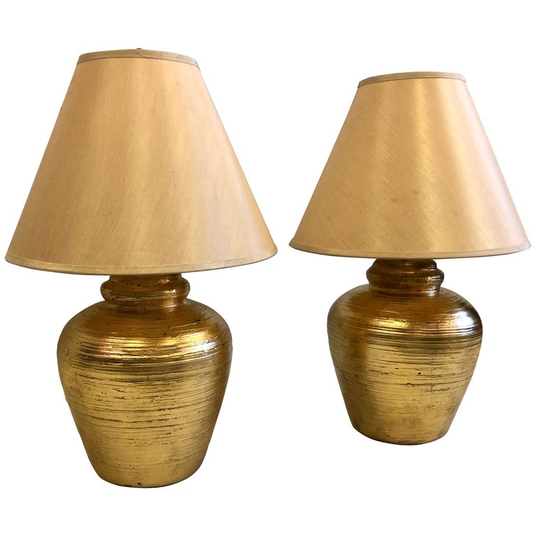 Pair of French Gilt Terracotta Table Lamps, Giacometti for Jean-Michel Frank For Sale