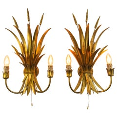 Pair of French Gilt Toleware Wheat Leaf Wall Sconces, 1950s