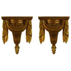 Pair of French Giltwood Neoclassical Style Wall Shelves
