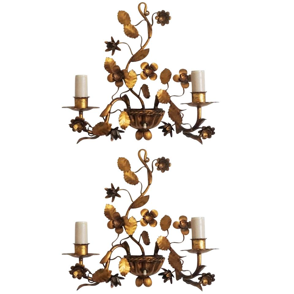 Pair of French Gilt Wrought Iron Two-Arm Electrified Wall Sconces, 1880-1890