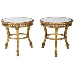 Pair of French Giltwood and Marble Guéridons