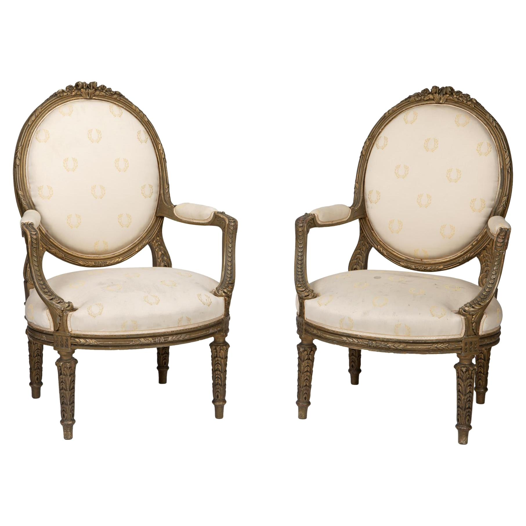 Pair of French Giltwood Armchairs, 19th Century