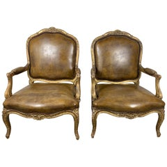 Pair of French Giltwood Armchairs with Leather Upholstery