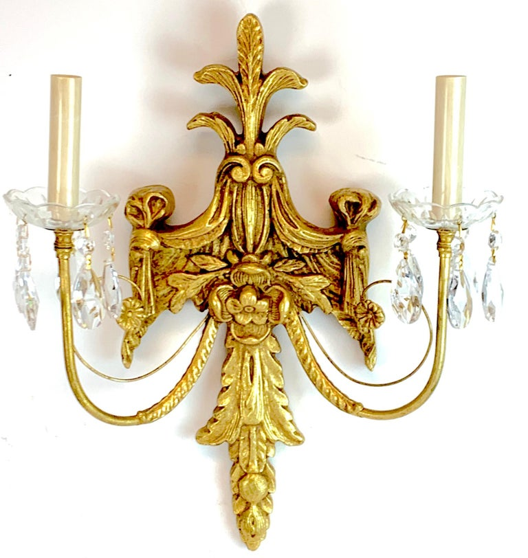 Carved Pair of French Giltwood and Crystal Wall Sconces For Sale