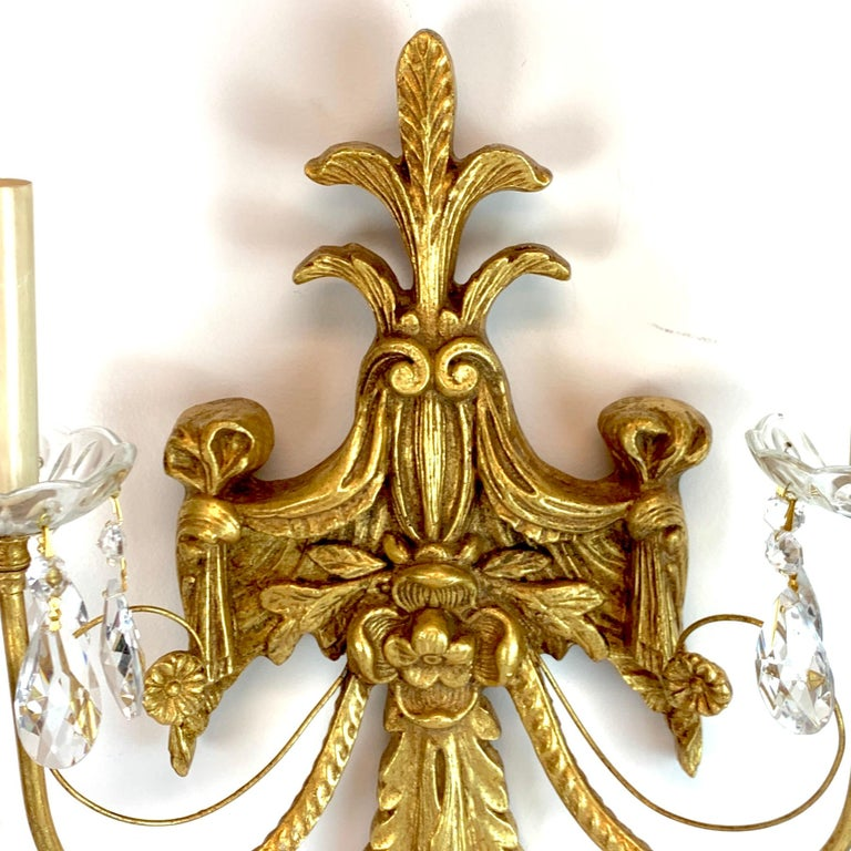 Pair of French Giltwood and Crystal Wall Sconces In Good Condition For Sale In West Palm Beach, FL
