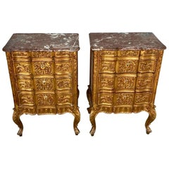 Pair of French Giltwood Diminutive Marble-Top Commodes