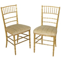Pair of French Giltwood Faux Bamboo Opera Chairs, Side Chairs, circa 1900