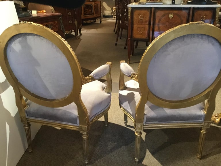 Pair of French Giltwood Louis XVI-Style Chairs with New Upholstery For Sale 6