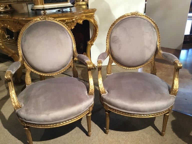 Pair of French Giltwood Louis XVI-Style Chairs with New Upholstery For Sale 9