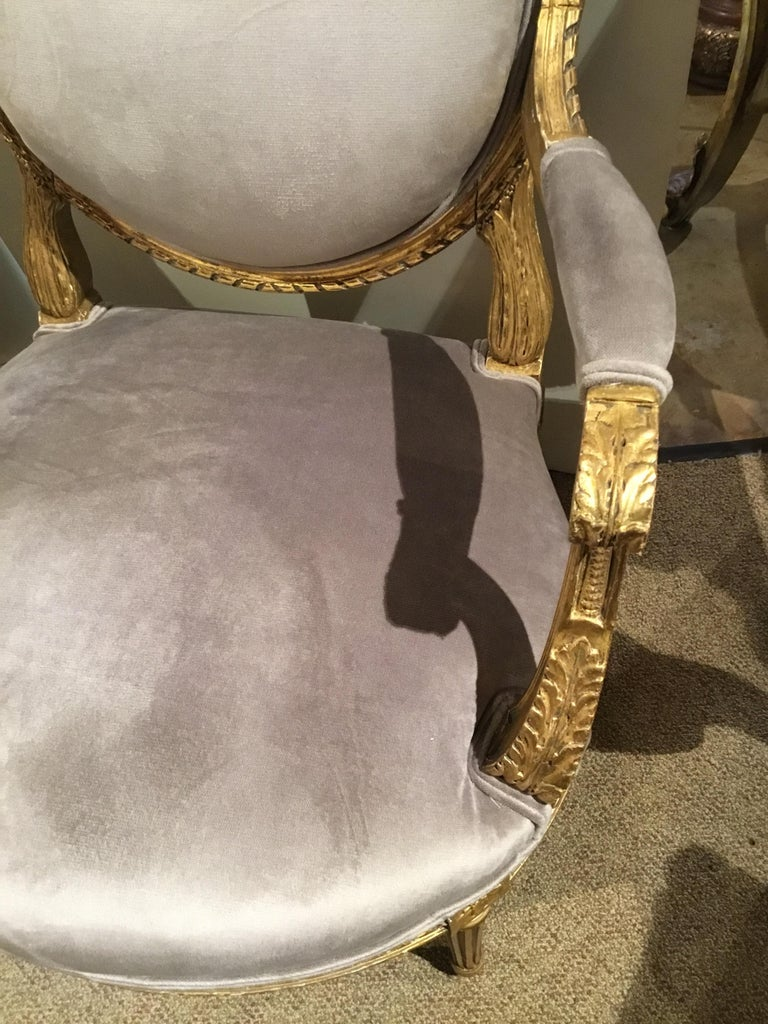 Pair of French Giltwood Louis XVI-Style Chairs with New Upholstery For Sale 3