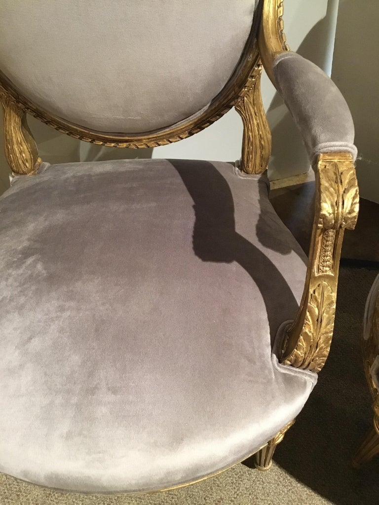 Pair of French Giltwood Louis XVI-Style Chairs with New Upholstery For Sale 4