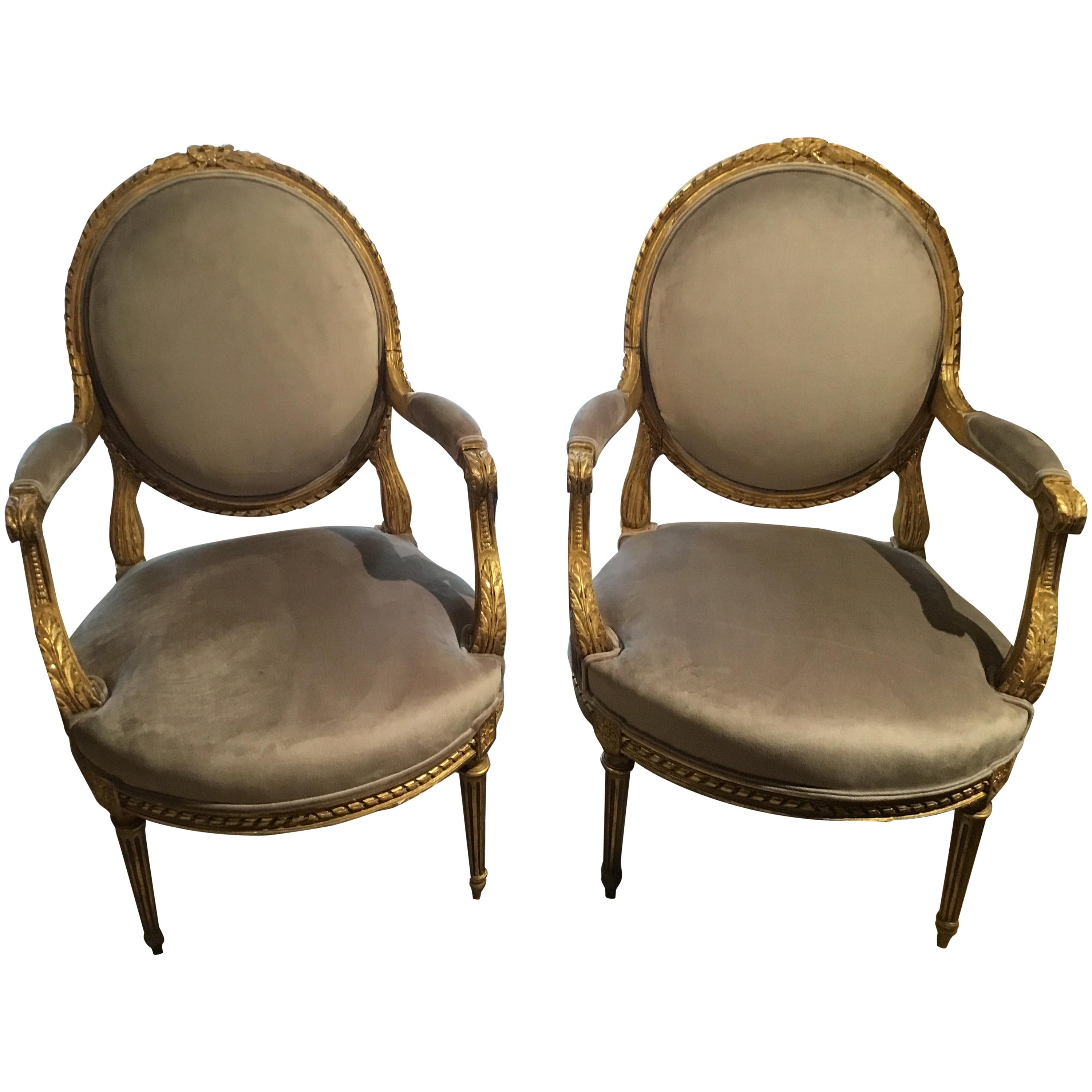 Pair of French Giltwood Louis XVI-Style Chairs with New Upholstery