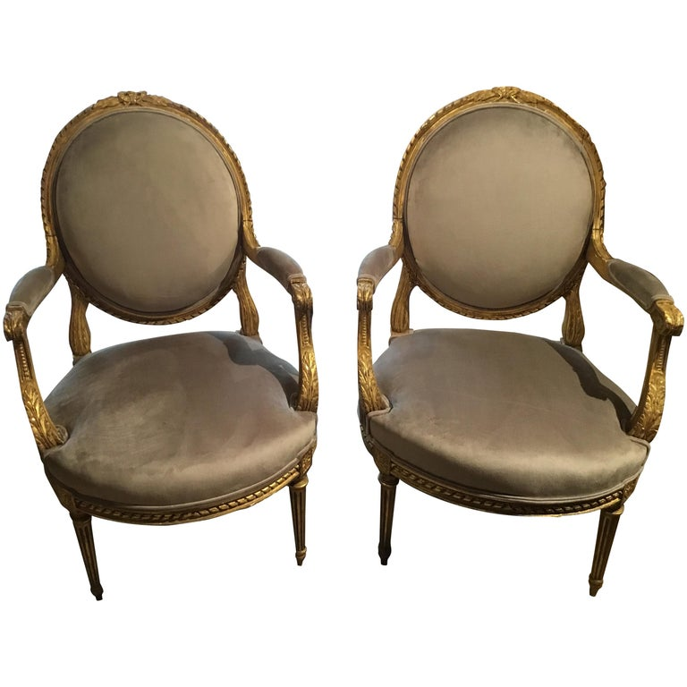 Pair of French Giltwood Louis XVI-Style Chairs with New Upholstery For Sale