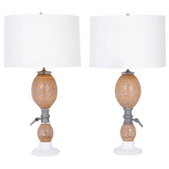 Pair of French Glass Bottle Table Lamps