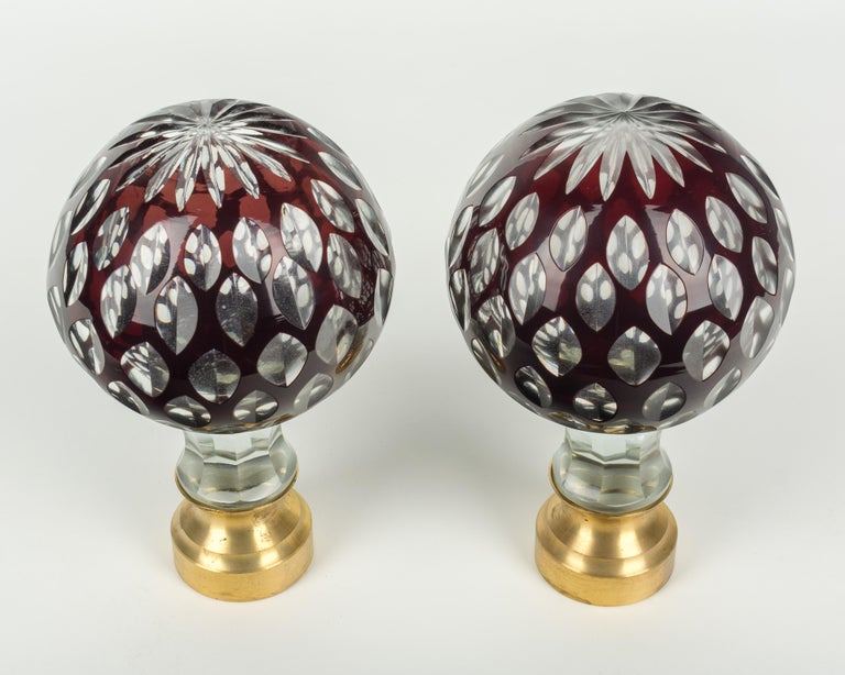 Cast Pair of French Glass Boules d'Escalier or Newel Post Finials For Sale