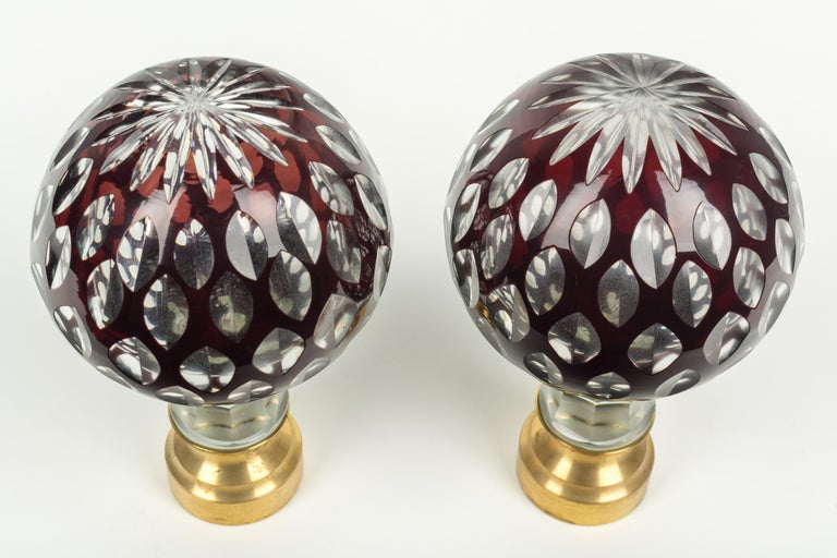 Pair of French Glass Boules d'Escalier or Newel Post Finials In Excellent Condition For Sale In Winter Park, FL