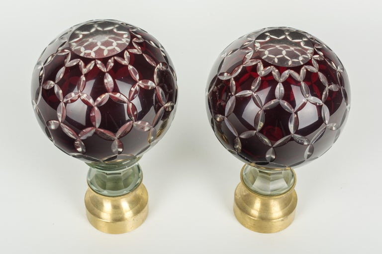 20th Century Pair of French Glass Boules d'Escalier or Newel Post Finials For Sale