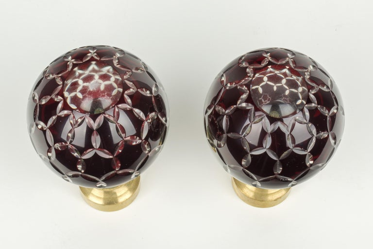 Brass Pair of French Glass Boules d'Escalier or Newel Post Finials For Sale