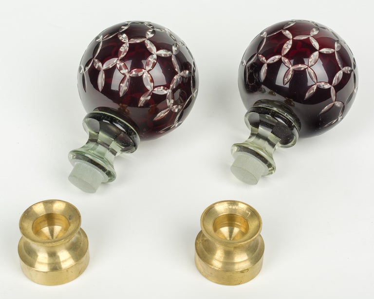 Pair of French Glass Boules d'Escalier or Newel Post Finials For Sale 1