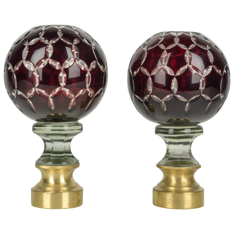 Pair of French Glass Boules d'Escalier or Newel Post Finials For Sale