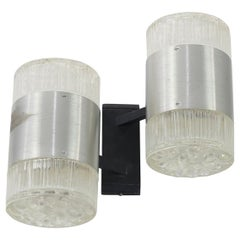 Pair of French Glass, Chrome, Cast Iron Modernist Sconces