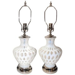 Pair of French Glass Table Lamps
