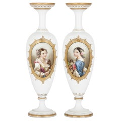 Pair of French Glass Vases Painted with Portraits
