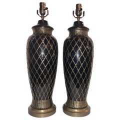 Pair of French Glazed Ceramic Table Lamps