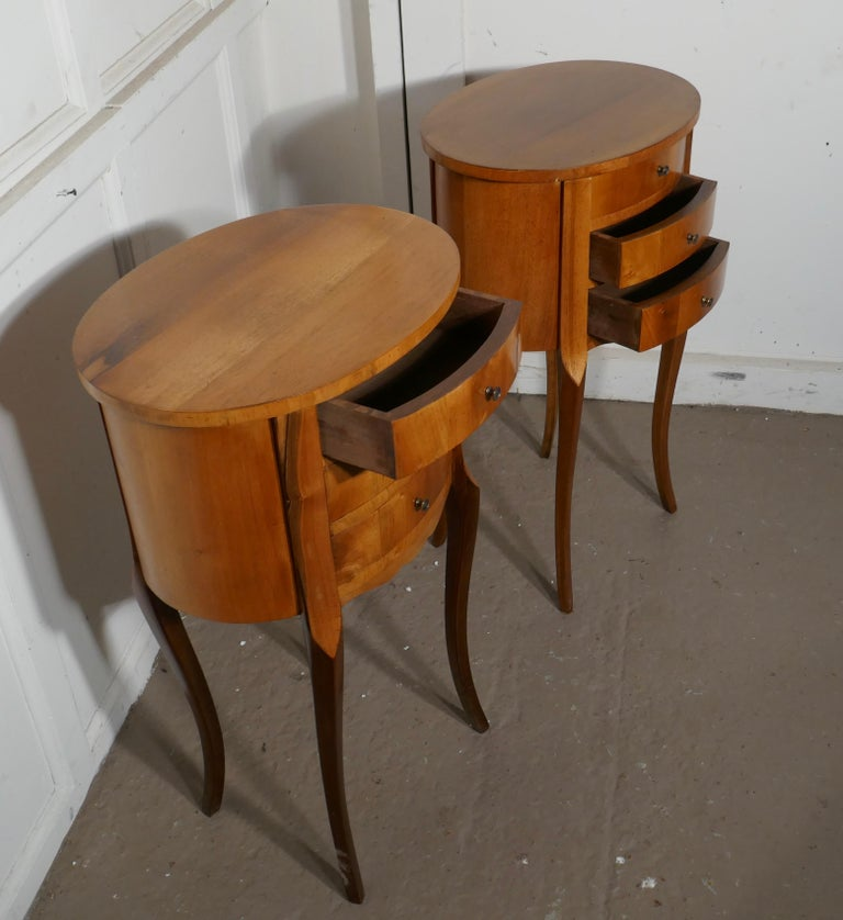 Pair of French Golden Cherry Oval Bedside Cabinets For Sale 1