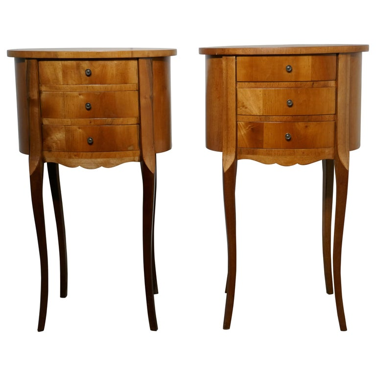 Pair of French Golden Cherry Oval Bedside Cabinets For Sale