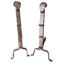 Pair of French Gothic Revival Style Andirons