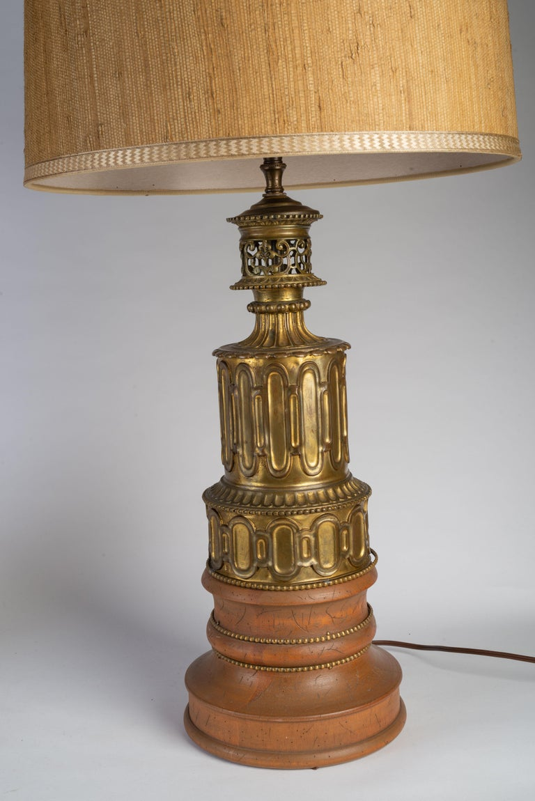 Pair of French Gothic Revival Wood and Brass Oil Lamps In Fair Condition For Sale In Boston, MA