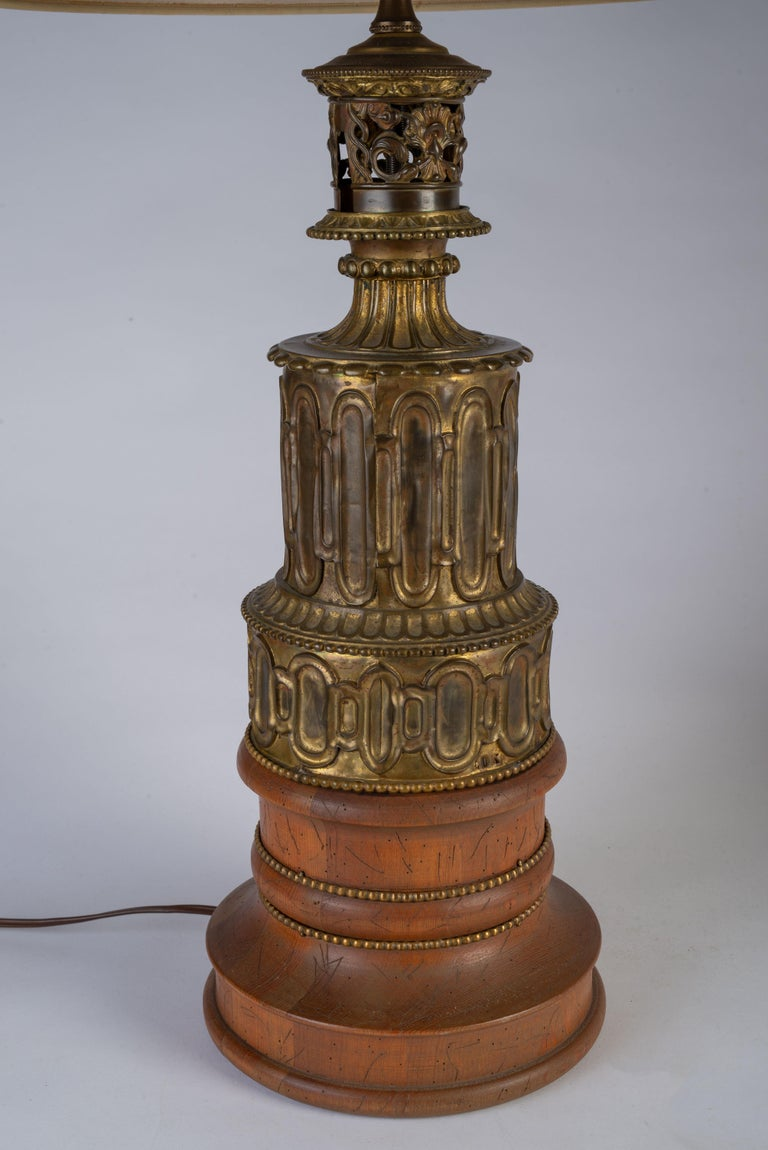 19th Century Pair of French Gothic Revival Wood and Brass Oil Lamps For Sale