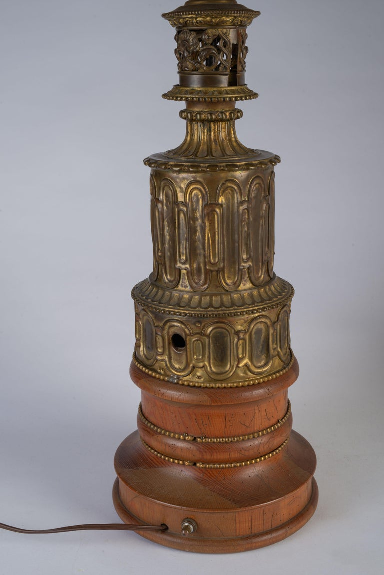 Pair of French Gothic Revival Wood and Brass Oil Lamps For Sale 1