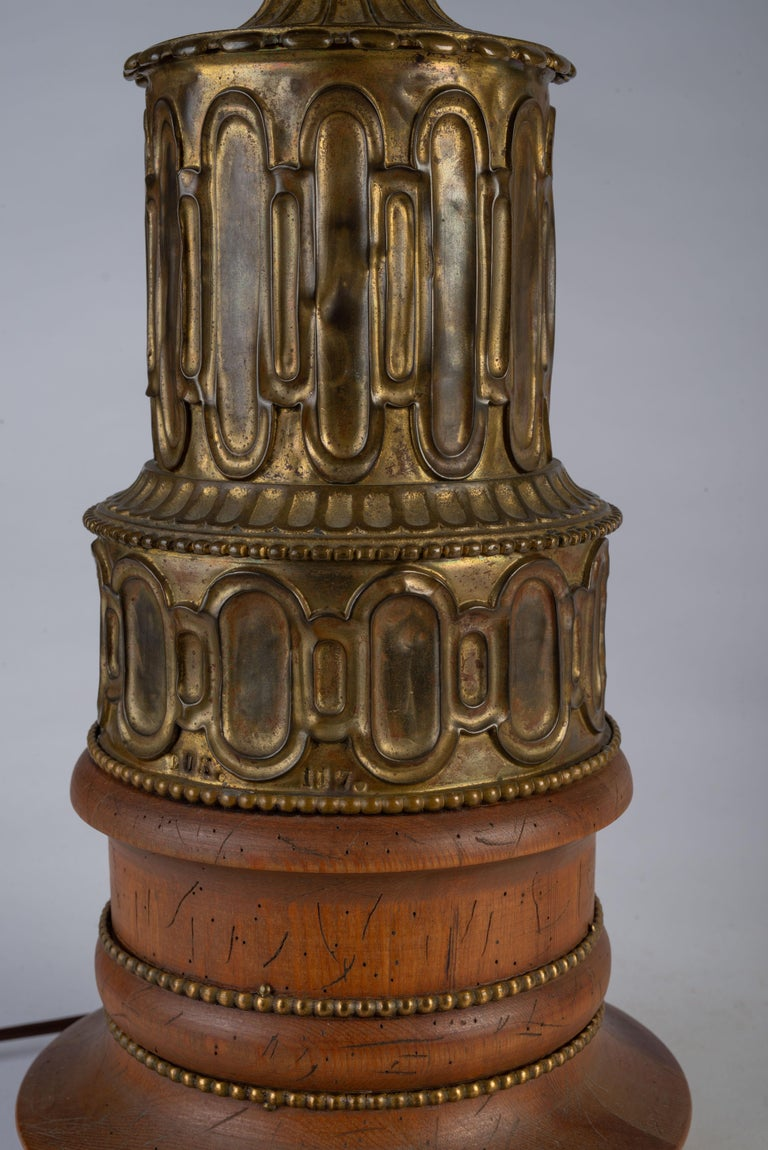 Pair of French Gothic Revival Wood and Brass Oil Lamps For Sale 3