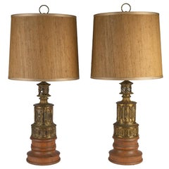 Pair of French Gothic Revival Wood and Brass Oil Lamps