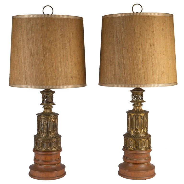 Pair of French Gothic Revival Wood and Brass Oil Lamps For Sale