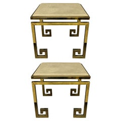 Pair of French Greek Key End Tables