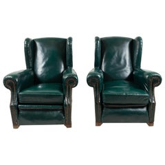 Pair of French Green Leather Wingback Chairs