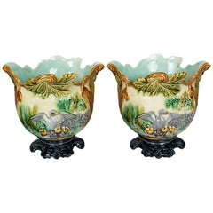 Pair of French Green Majolica Cache Pots