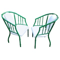 Pair of French Green Mid-Century Modern Faux Bamboo Metal Armchairs
