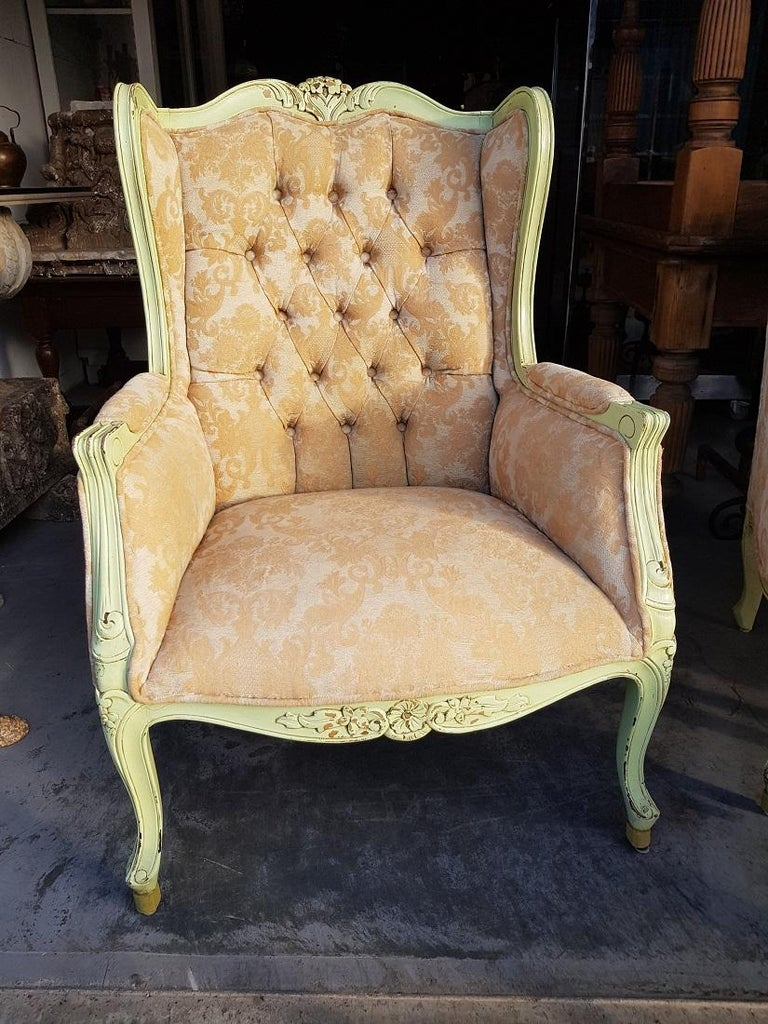 Pair of French Green Painted Wingback Chairs with Footstools, Late 20th Century In Good Condition For Sale In Raalte, NL