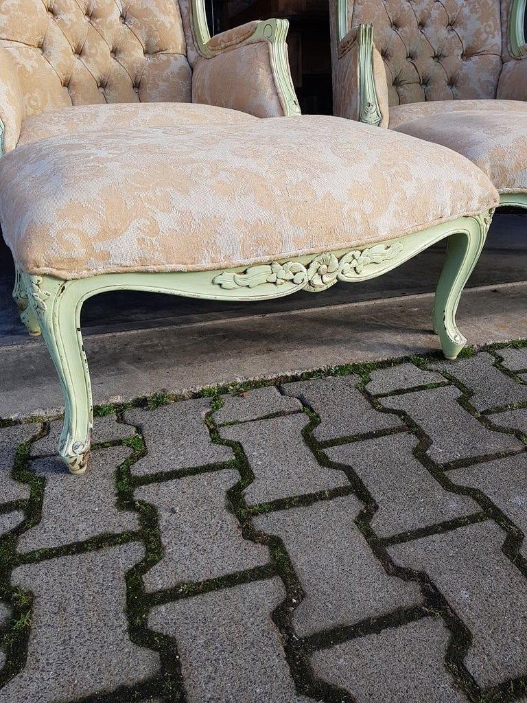 Fabric Pair of French Green Painted Wingback Chairs with Footstools, Late 20th Century For Sale