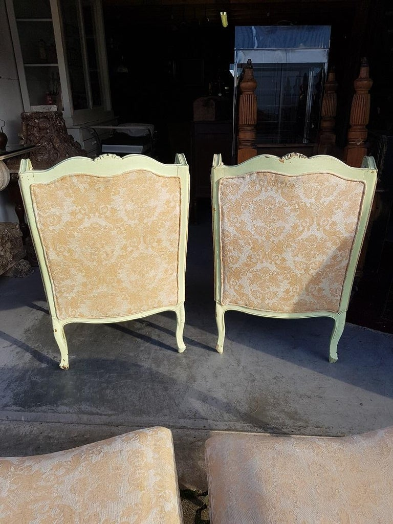 Pair of French Green Painted Wingback Chairs with Footstools, Late 20th Century For Sale 2