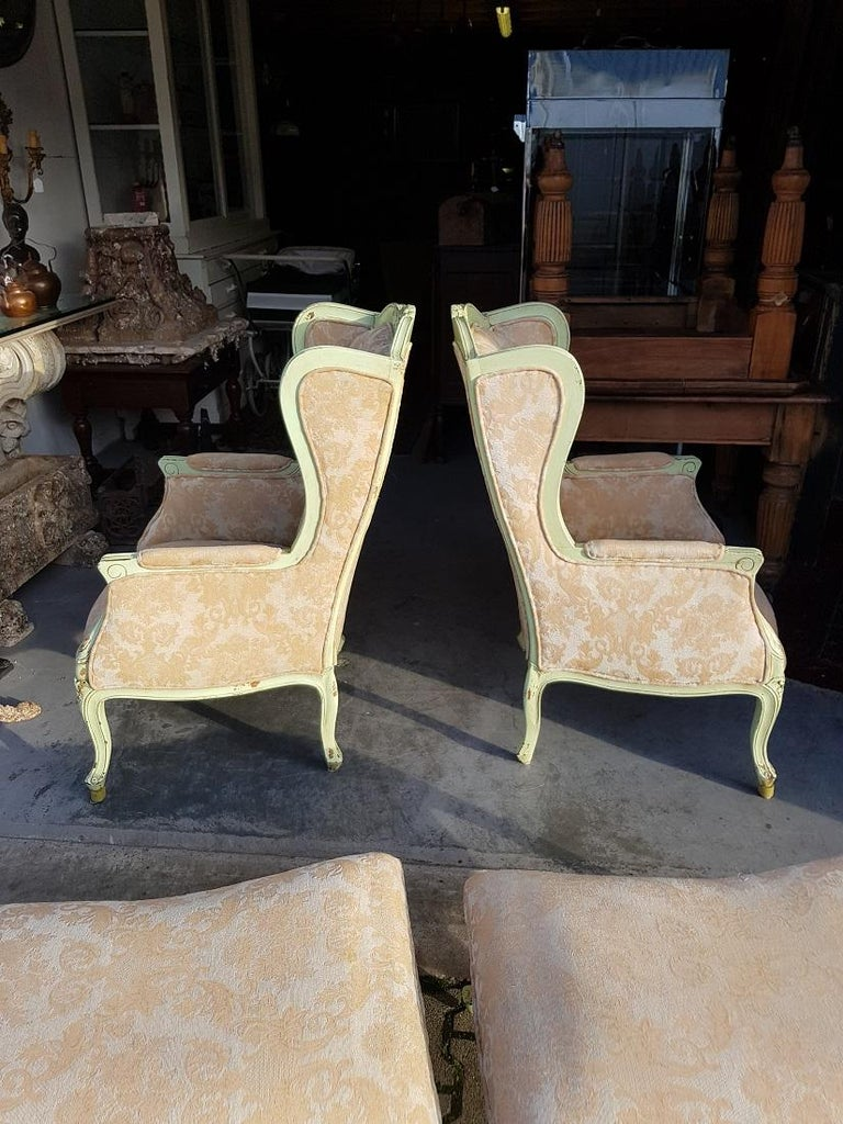 Pair of French Green Painted Wingback Chairs with Footstools, Late 20th Century For Sale 3