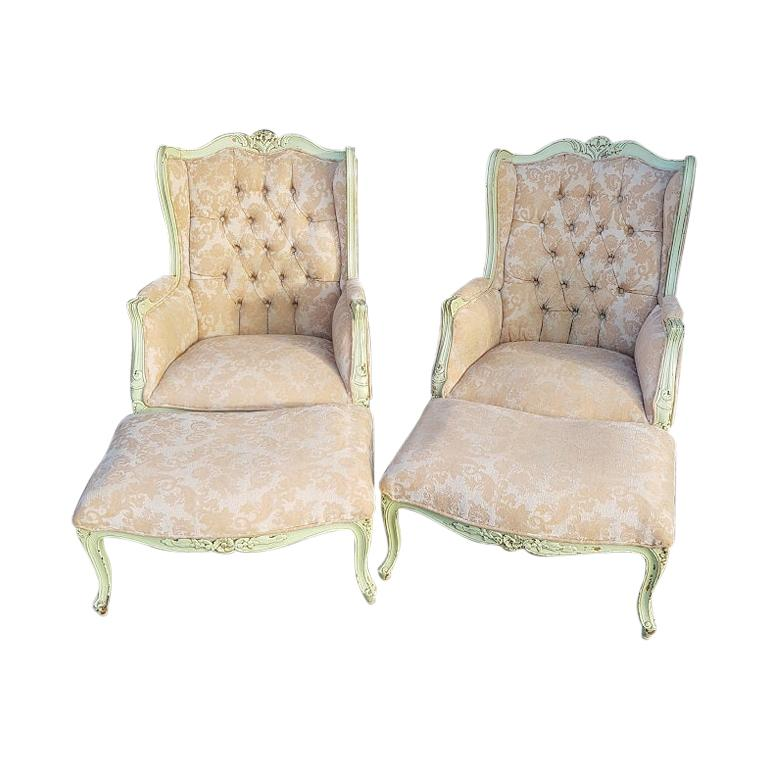 Pair of French Green Painted Wingback Chairs with Footstools, Late 20th Century For Sale